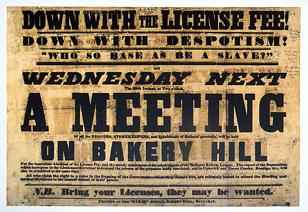 Meeting on Bakery Hill poster 1854 - PROV VPRS5527/P0